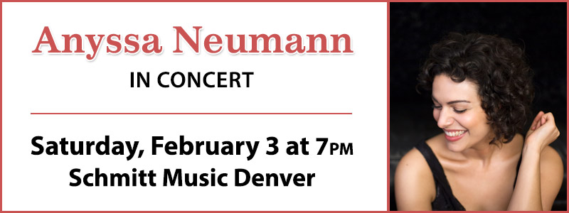 Anyssa Neumann in concert at Schmitt Music Denver on Saturday, February 3rd