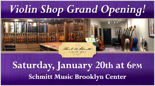 Grand Opening of the Paul A. Schmitt Violin Shop featuring the Lux String Quartet on January 20th
