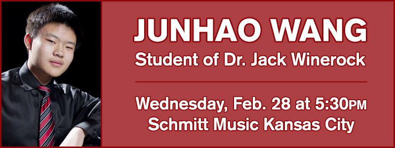 Junhao Want, student of Dr. Jack Winerock, in recital at Schmitt Music