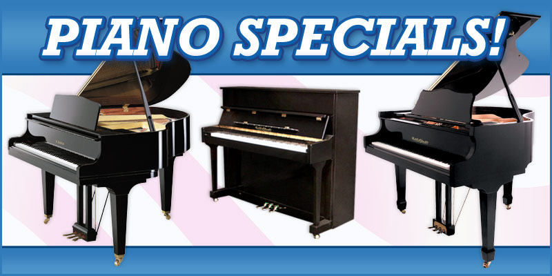 Piano Specials: Kawai baby grand piano, Paul A. Schmitt grand piano, vertical piano