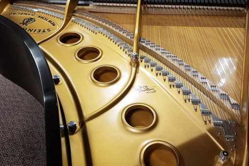 "Used Steinway Model M Ebony Satin 5'7"" Grand Piano"