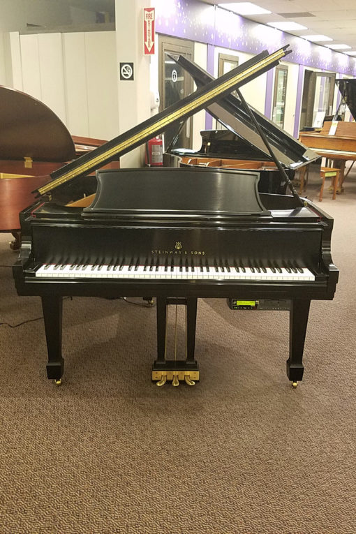 "Used Steinway Model M Ebony Satin 5'7"" Grand Piano"