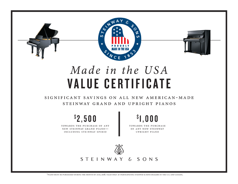 Steinway Made in the USA Value Certificate