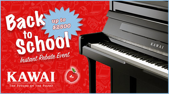 Kawai Instant Rebates up to $2500 at Schmitt Music piano stores