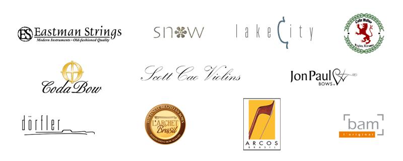 Orchestra brands: Eastman, Snow, Lake City, Calin Wultur, Scott Cao, CodaBow, JonPaul, L'Archet Brasil, Arcos Brasil, Bam, Dorfler