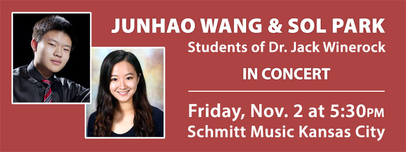 Student Pianists Junhao Wang and Sol Park in Recital at Schmitt Music Kansas City
