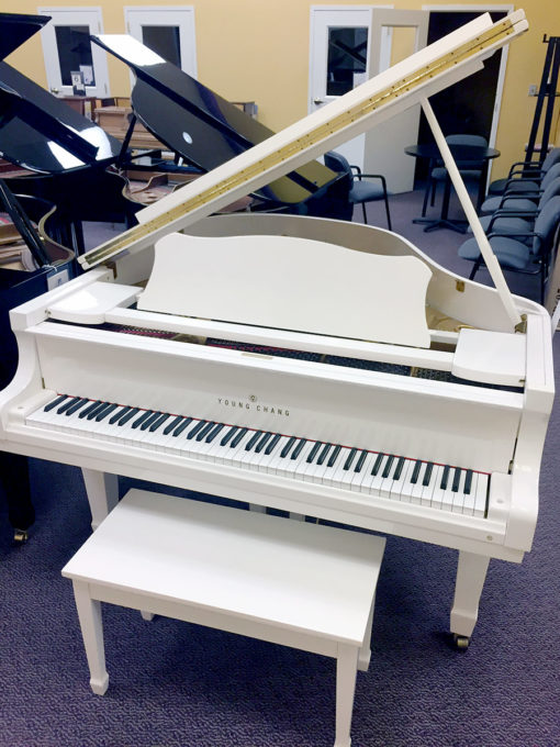 "Used Young Chang 5'2"" High Polished White Baby Grand Piano"