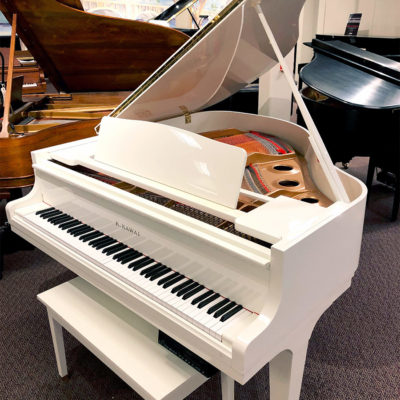 "Used Kawai GE-1 5'1"" Snow White Grand Piano"