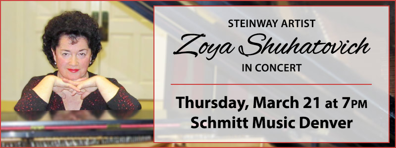 Steinway Artist Zoya Shuhatovich in Concert at Schmitt Music Denver