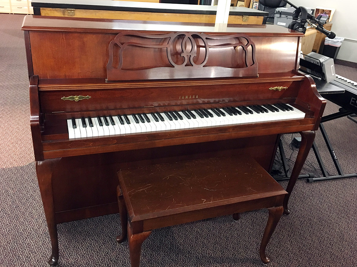 """Used Yamaha M-500 44"""" Queen Anne Dark Cherry Upright Piano"""