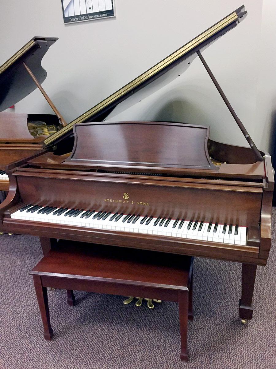 Used Steinway & Sons Model L Brown Mahogany Satin Grand Piano