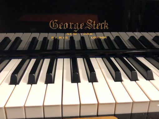 "Used George Steck US-16STL 45"" Ebony Polish Studio Piano"