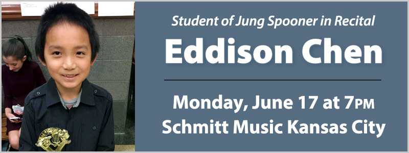 Student Pianist Eddison Chen in Recital at Schmitt Music Kansas City