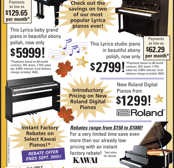 Fall Piano Specials at Schmitt Music Denver!
